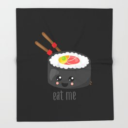 Eat Me in black Throw Blanket
