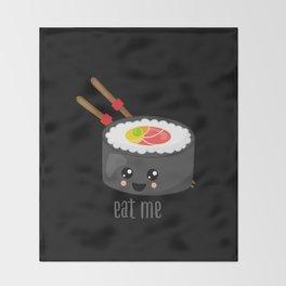 Eat Me in black Throw Blanket