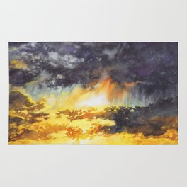 Watercolor Sky No 5 - colorful rain clouds Rug