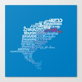 Shark in Different Languages Canvas Print