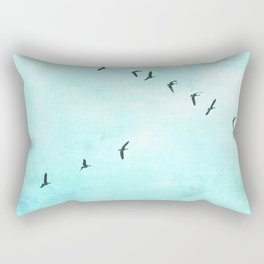 GEESE FLYING - TURQUOISE Rectangular Pillow