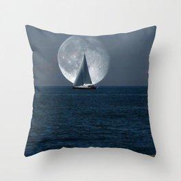 Full Moon Sailing Throw Pillow