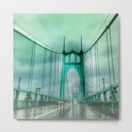 St John's Bridge Portland Oregon Metal Print