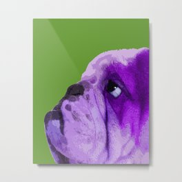 English bulldog portrait, Green Pop art Metal Print