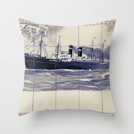 Red Star Line Antwerp New York Delft blue style Throw Pillow