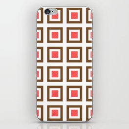 Chocolate Brown + Coral: Pattern No. 13B iPhone Skin