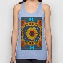 Blue Butterflies Golden Sunflowers Teal Art Unisex Tank Top