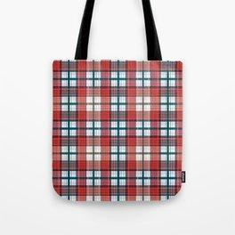 Colorful red grey plaid . Tote Bag