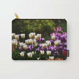 Purple and White Tulips Carry-All Pouch