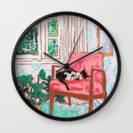 Little Naps - Tuxedo Cat Napping in a Pink Mid-Century Chair by the Window Wall Clock