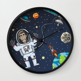 Astronaut In Space Wall Clock