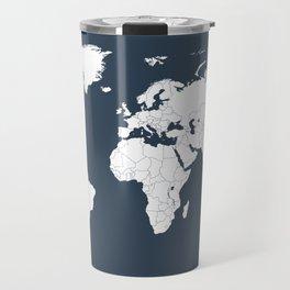 Minimalist World Map in Navy Blue Travel Mug