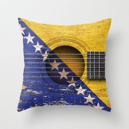 Old Vintage Acoustic Guitar with Bosnian Flag Throw Pillow