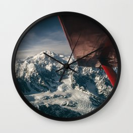 Flying Around Denali Wall Clock