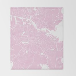 Amsterdam Pink on White Street Map Throw Blanket