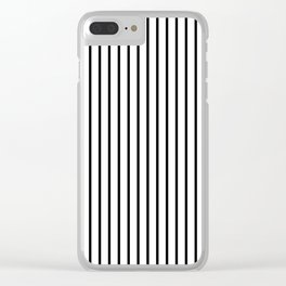 Black Pinstripe On White Pattern Clear iPhone Case