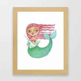 Mermaid and Narwhal Framed Art Print