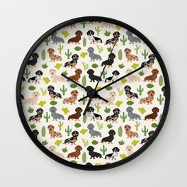 Dachshund cactus southwest dog breed gifts must have doxie dachsies Wall Clock