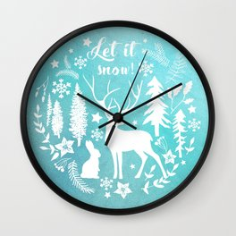 Let it snow! Christmas illustration Wall Clock