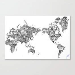 Passport Stamp Map 1 Canvas Print
