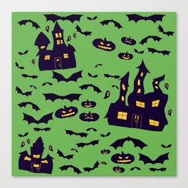 Green Haunted Houses Canvas Print