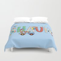 shaun of the dead Duvet Covers featuring Shaun / Personalised Children's  Name by MariskaART