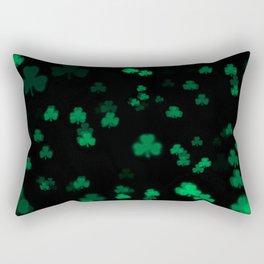 Green Bokeh Shamrocks Rectangular Pillow