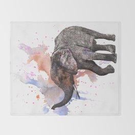 Dancing Elephant Painting Throw Blanket