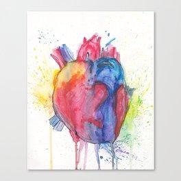 watercolour Heartbeats Canvas Print
