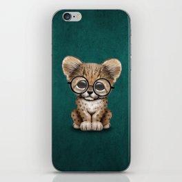 Cute Cheetah Cub Wearing Glasses on Teal Blue iPhone Skin