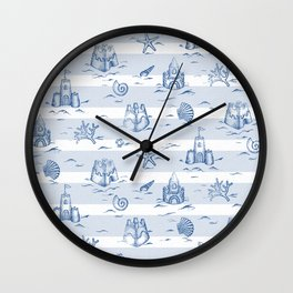 Sandcastle Stripes_Pattern Wall Clock