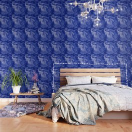 Marble Blues White Wallpaper