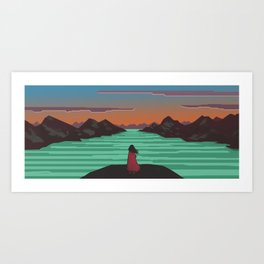 Fjords and mountains. Art Print