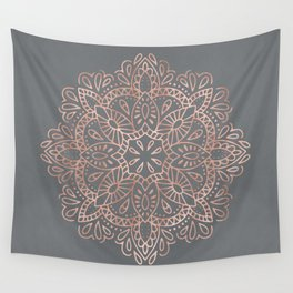 Mandala Rose Gold Pink Shimmer on Soft Gray by Nature Magick Wall Tapestry
