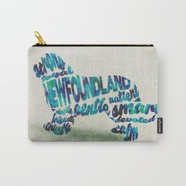 Newfoundland Dog Typography Art / Watercolor Painting Carry-All Pouch