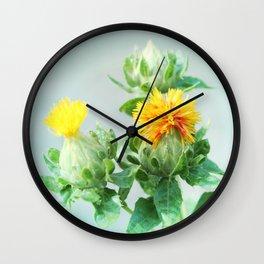 Yellow Safflower (Carthamus Tinctorius Yellow)  Wall Clock