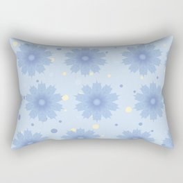 Blue shades blend flowers with polka dot background Rectangular Pillow