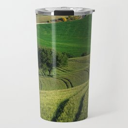 Curves and lines in the green fields of Tuscany Travel Mug