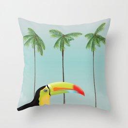 Cuba Toucan travel poster Throw Pillow