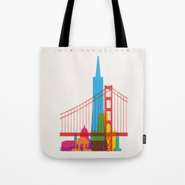 Shapes of San Francisco. Accurate to scale Tote Bag