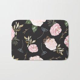 Floral Blossom - Black Backgroud Bath Mat