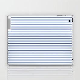 Mattress Ticking Narrow Horizontal Stripe in Dark Blue and White Laptop & iPad Skin