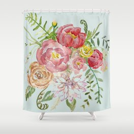 Bouquet of Spring Flowers Light Aqua Shower Curtain