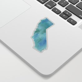 Watercolor State Map - California CA blue green Sticker