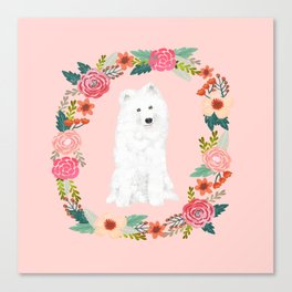 Samoyed dog breed floral wreath pet portrait dog gifts Canvas Print