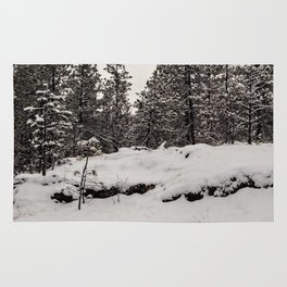 trees in the snow Rug