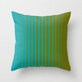gradient stripes aqua olive Throw Pillow