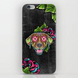 Labrador Retriever - Chocolate Lab - Day of the Dead Sugar Skull Dog iPhone Skin
