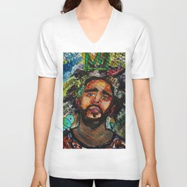 J cole,kod,album,music,rap,cole world,hiphop,rapper,masculine,cool,fan art,wall art,portrait,paint Unisex V-Neck