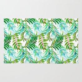 Hand painted teal green watercolor tropical leaves Rug